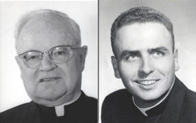 Monsignor Harry C. Meade, left, served as pastor of St. Bernard Church from 1930 to 1937. Father Robert Delaney served as associate pastor of St. Bernard Church in 1958.